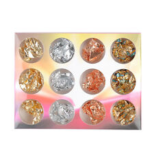 12 Pots Nail Art Gold Silver metal foil paper Flake 3D Sticker Decal decoration