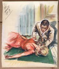 Peinture Gouache Dessin Original Yvette Briclot-Baudry Femme malaise YBB24