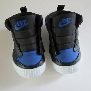 NEW Nike Air Jordan 1 Crib Bootie Baby Infant Shoes Black Blue SZ 3C