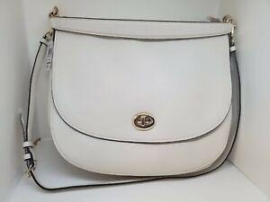 COACH 36762 Chalk White Pebbled Leather Turnlock Hobo Handbag Purse NWT