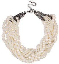 Multi Layer String Twist Faux Pearl Chunky Choker Statement Necklaces Jewelry UK