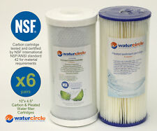 """6 x (10"""" x 4.5"""" 5 micron Pleated + 5 micron NSF APPROVED Carbon water filter)"""