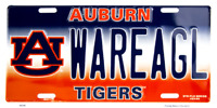 AUBURN TIGERS WAREAGL EMBOSSED METAL NOVELTY LICENSE PLATE TAG