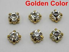 50 Golden Clear Crystal Glass Rose Montees 8mm SS38 Sew on Rhinestones Beads