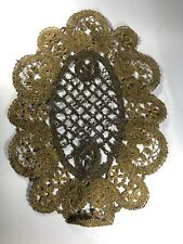 Antique Gold Metallic Embroidered Fragment Material Mat