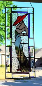 """""""Red Hat Lady""""  Stained Glass Window Panel  """"10 x 25"""""""