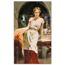 """Pino Giclee Canvas S/# """"In the Glow"""" Beauty in kitchen apron with coa 40x24"""