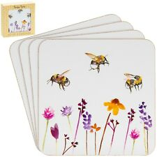 Set of 4 Busy Bees Tableware Tea Coffee Coasters Bumble Bee Floral Design