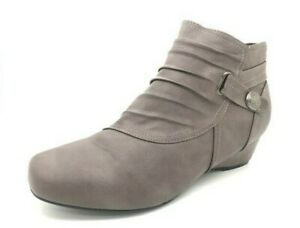 Ladies Boots Step On Air Rae Ankle Low Wedge Heel Boot Mushroom Size 6