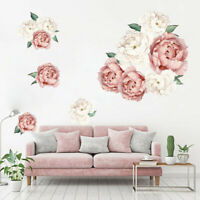 Fashion Peony Rose Flowers Wall Sticker Art Decals Kids Room Home Decor