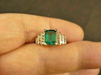 3Ct Emerald Cut Green Diamond 3 Floor's Engagement Ring 14K Yellow Gold Finish