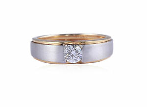 Classy 0.30 Cts F/VS1 Natural Diamond Men's Solitaire Ring In Solid 14Karat Gold