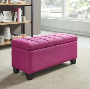 Lila Deep Storage Ottoman Bench in Pink,Blue,Brown, Grey 4 Fabrics Square Tufted