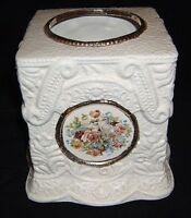 Elegant Porcelain Art Nouveau Style Tissue Box Gold Trimmed