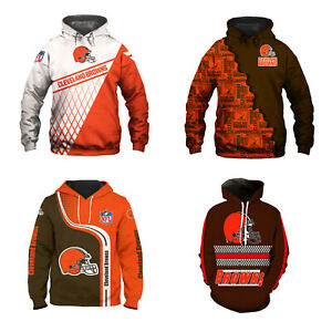 Cleveland Browns Men's Hoodie Pullover Swearshirt Football Hooded Jacket Coat