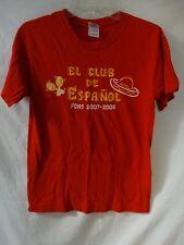 MENS RED GILDAN EL CLUB DE ESPANOL FCHS 2007-2008 T SHIRT SIZE SMALL ~POR QUE NO