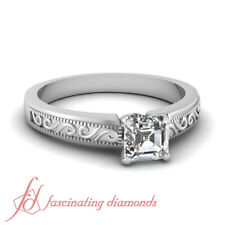 3/4 Carat GIA Certified Asscher Cut Diamond Engraved Solitaire Engagement Ring