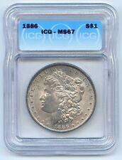 High Grade 1886 $1 Morgan Silver Dollar. ICG Graded MS 67. Lot #2731