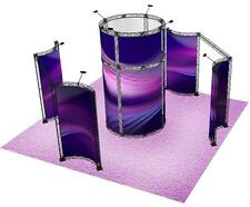20X20 CURVED TRADE SHOW BOOTH DISPLAY IN TRUSS RADIUS CURVED DISPLAY TOWER