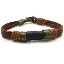 Men's Mens Women's Vintage Leather Rope Brown/Black/Metal Bracelet Wristband