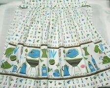 Vintage 50's Half Apron Grilling Chef Cookout Fabric Design NICE!