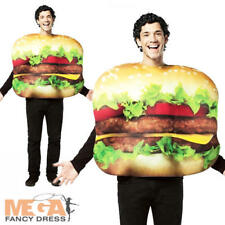 American Cheeseburger Adult Fancy Dress Fast Food Fun Mens Ladies Costume Outfit