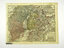 SCHWEDEN NORWEGEN SKANDINAVIEN ALTKOL KUPFERSTICH KARTE LOTTER  1762 AD  #D916S