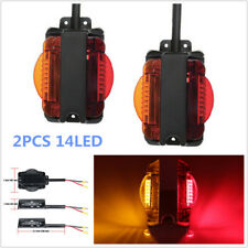2PCS Truck Trailer Tail 14LED Light Stop Turn Signal Indicator Reverse Lamp Red