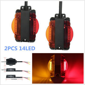 2PCS Truck Trailer Tail 14LED Light Stop Turn Signal Indicator Reverse Lamp Red