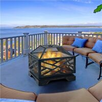 26in Outdoor Fire Pit Metal Stove Fire Pit Wood Burning Bronze W/ Cooking Grate