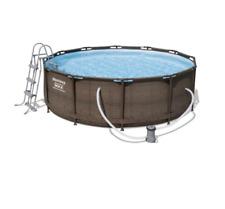 Bestway Power Steel Deluxe Frame Pool, Komplett-Set, rund, 427x107 cm Rattan