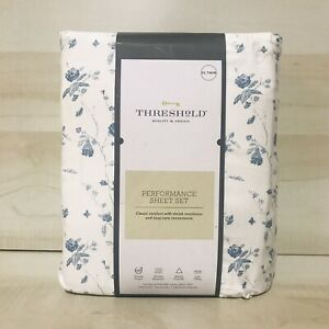 Threshold Sheet Set Twin/Twin XL 400 Thread Count Printed Pattern Blue Floral