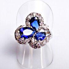 Echte Edelstein-Ringe im Cluster-Stil aus Sterlingsilber mit Tropfen