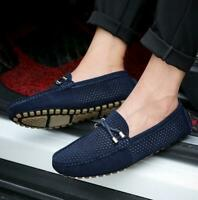 Men's Breathable Anti-skid Casual Loafers Leather Driving Shoes Slip On Moccasin