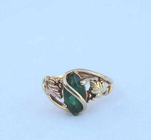 Ladies Man-Made Marquise Emerald Gemstone Ring - 10k Yellow, Rose, Green Gold