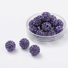 12 unidades pedrería perlas beads perlas Shamballa lila oscuro 10 mm (1382)