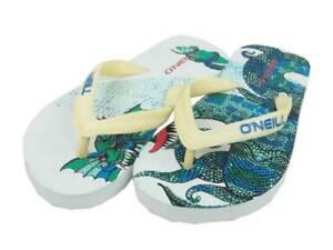 O'Neill Flip-Flops Cracking White Green Dragon Print