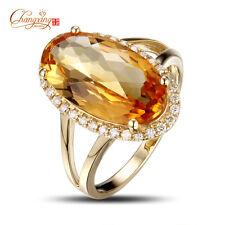14K Yellow Gold 4.93ct Natural If Citrine Engagement 0.23ct Diamond Ring #6.5