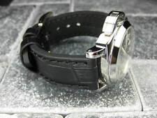 New PAM BIG CROCO 24mm Black Genuine Grain Leather Strap Watch Band 24