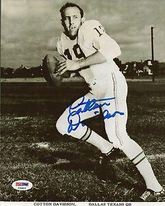 Cotton Davidson Signed Dallas Texans 8x10 Photo PSA/DNA COA AFL Picture Auto'd