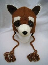 deLux RED PANDA HAT knit ADULT raccoon LINED Costume fox bear brown mens womens
