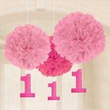 3 x 1st Anniversaire Rose Moelleux Pom Pom Cintre filles âge 1 an Ballant