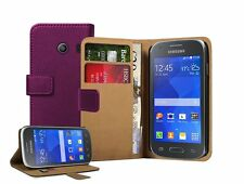 Wallet VIOLET Leather Case Cover Pouch For Samsung Galaxy Ace Style SM-G310HN