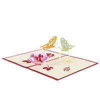 3D Laser Butterfly Flower Wedding Invitation Card Greeting Card Craft Gift HD