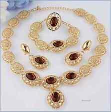 ROMANTIC NECKLACE,EARRINGS,RING,BRACELET,GOLD LAMINATE STONE COLOUR AMBER