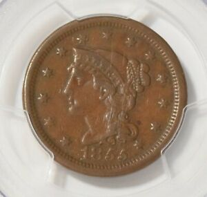1855 Slanted 5 Braided Hair Large Cent PCGS XF40