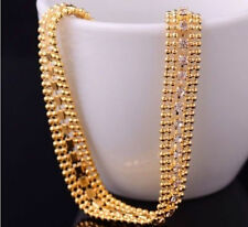 "Women Lady Luxury 8"" 14K Gold Filled Curb Wedding Party Bracelet Bangle Jewelry"