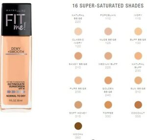 Maybelline DEWY & SMOOTH Fit Me! Liquid Foundation - Choose Your Shade New