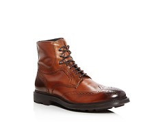 TO BOOT NEW YORK MEN'S HOBSON WINGTIP LEATHER BOOTS COGNAC SIZE 9 ORG.P. $450