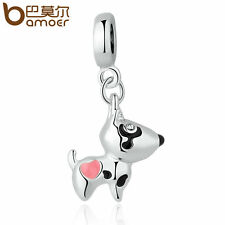Bamoer European DIY Silver Lovely dog CZ Charm Fit Bracelet necklace Jewelry